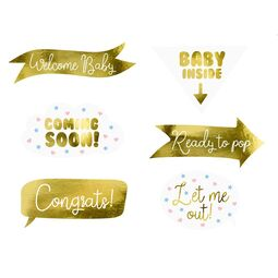 Photo Booth Set Babyparty gold 6 tlg.