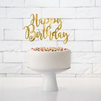 Cake Topper Happy Birthday gold
