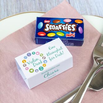 Gastgeschenk Konfirmation SMARTIES mini + Banderole...